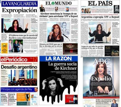 Portadas de diarios españoles: expropiación YPF (17 abril 2012)