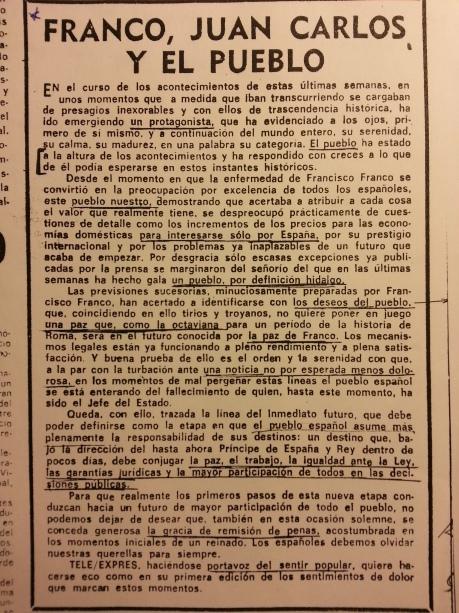 Editorial de Tele/eXprés (20/11/1975)