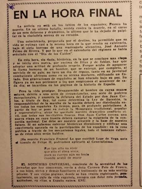 Editorial de El Noticiero Universal (20/11/1975)